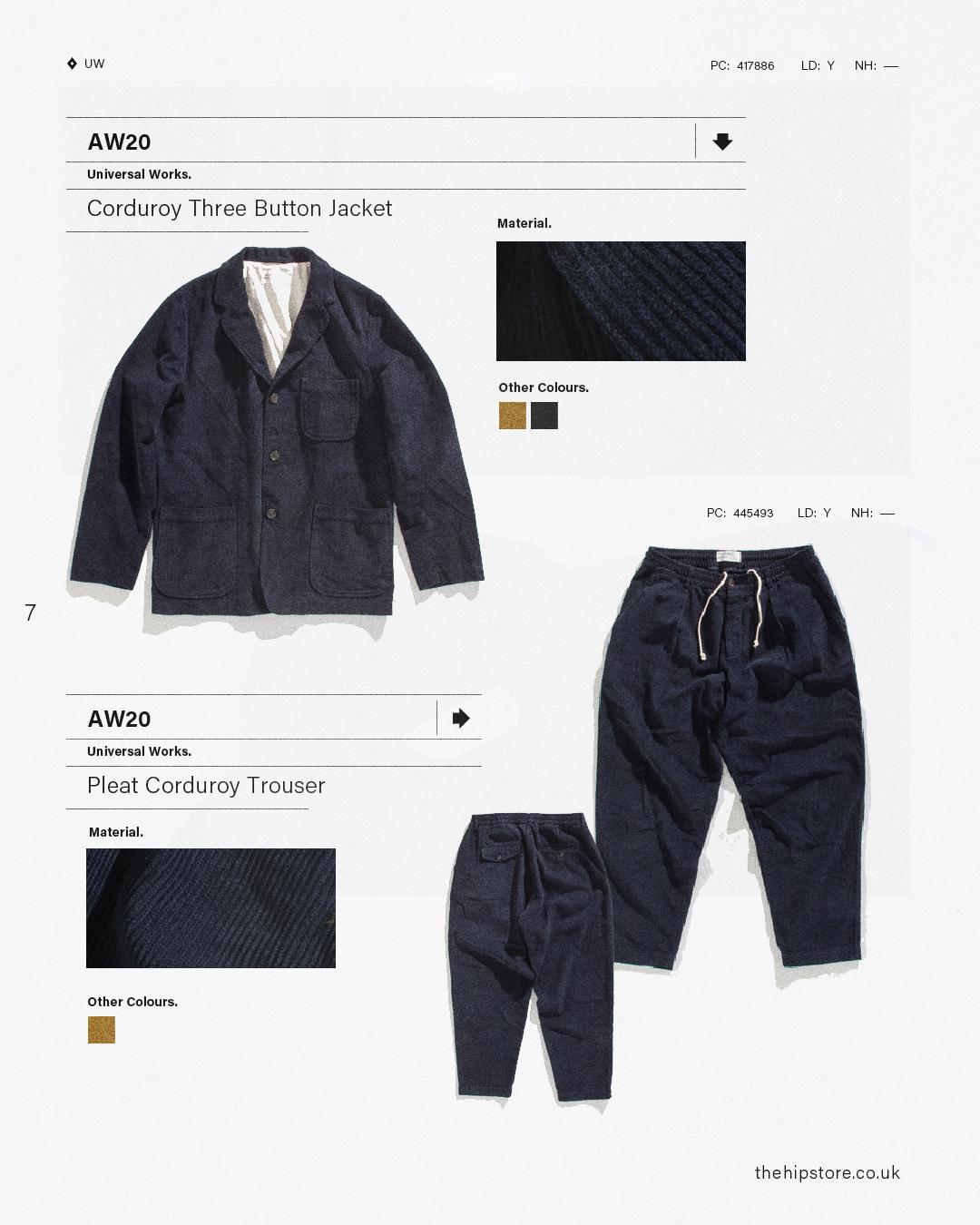 HIP Staff Picks: Universal Works AW20 Corduroy Three Button Jacket Pleat Corduroy Trouser