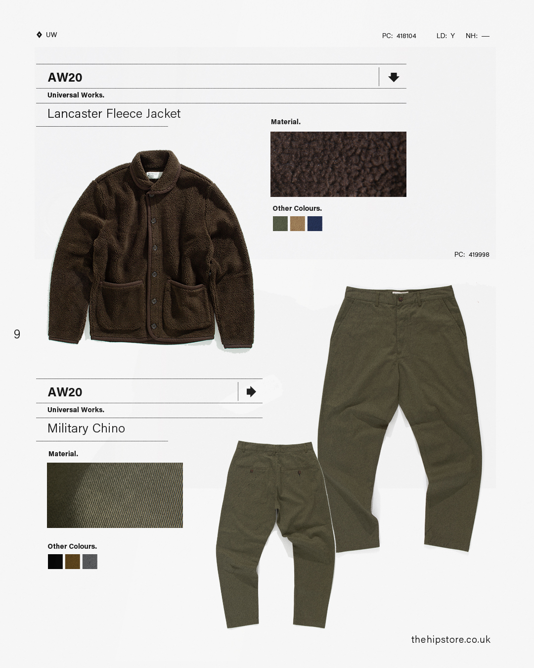 HIP Staff Picks: Universal Works AW20 Lancaster Fleece Jacket Military Chino