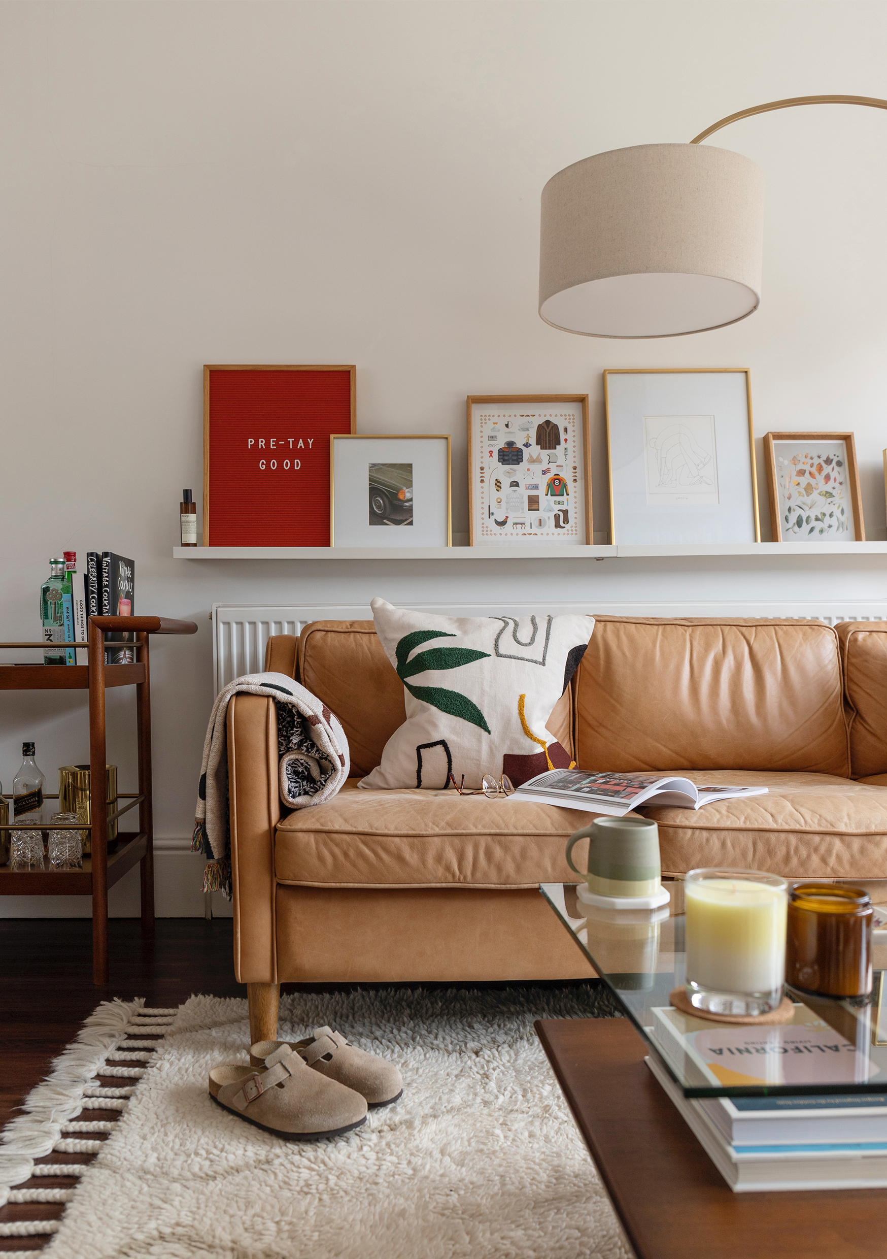 HIP Living - Living Room - Ferm Living cushion on couch - Kinto - Birkenstock Bostons