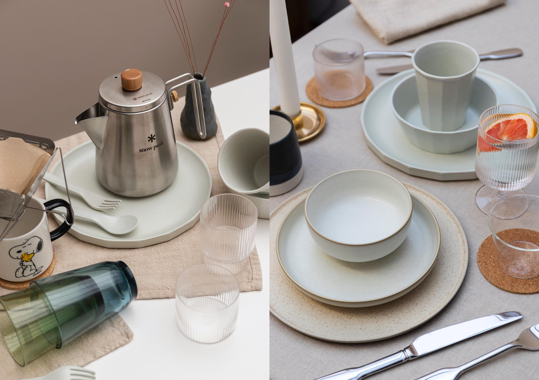 HIP Living - Dining Room - Plates on table - Plates - Mazama - Snow Peak - Coffee