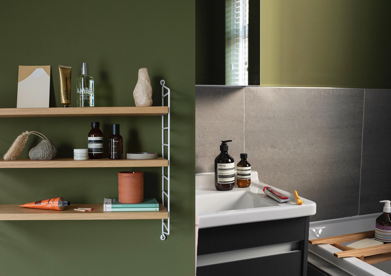 HIP Living - Grooming - Shelf - Aesop - Ferm Living vase - Aesop - Laboratory Perfumes - Marvis - Sink