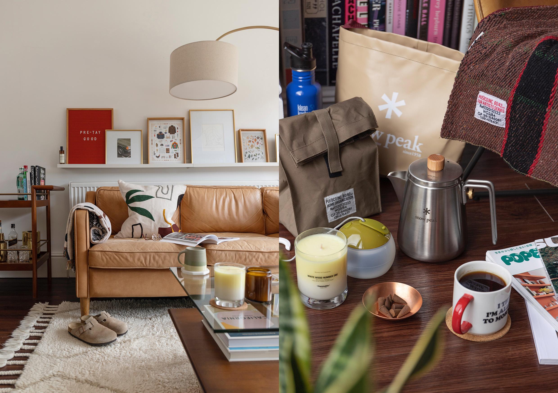 HIP Living - Living Room - Ferm Living cushion on couch - Kinto - Birkenstock Bostons - Laboratory Pefumes Candle - Snow Peak Bag -Peanuts Mug - Puebco throw