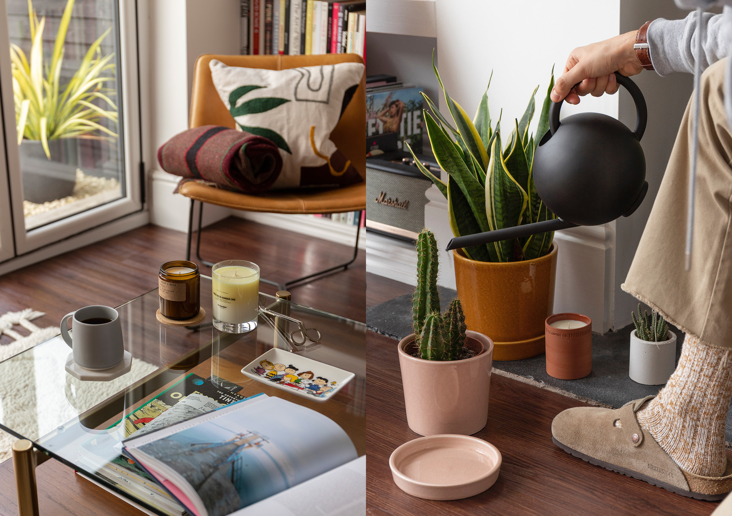 HIP Living - Living Room - Candles - Plant Pots - Books - Chair