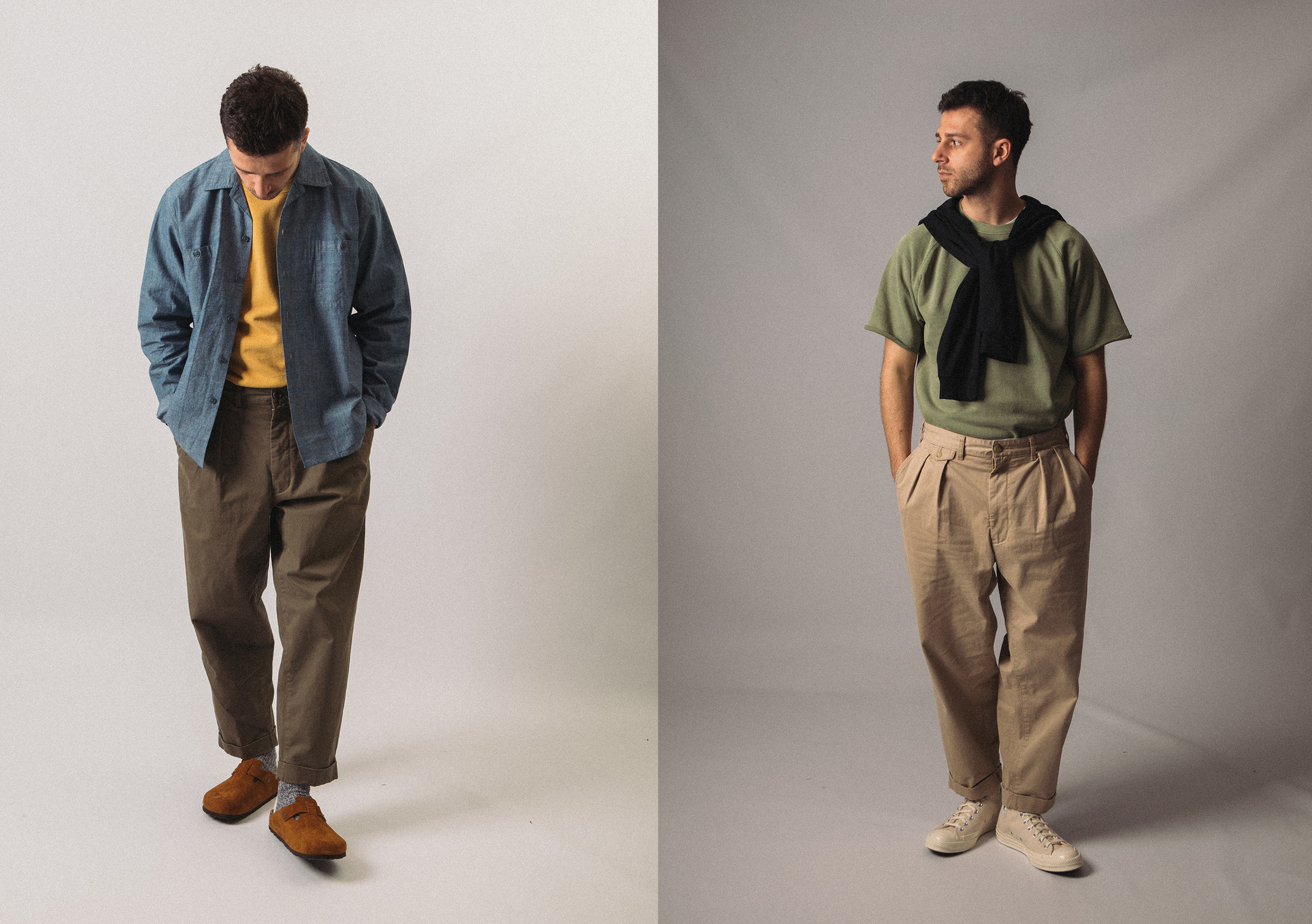 Beams Plus SS21 Collection At HIP Cuff-Off Short Sleeved Sweatshirt, Open Collar Mil Chambray Long Sleeve Shirt, Pleated Twill Pants