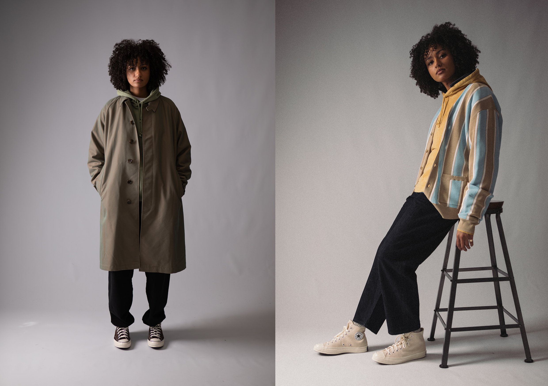 Beams Plus SS21 Collection At HIP,  Striped Cardigan, Gabardine Balmacaan Mac Jacket